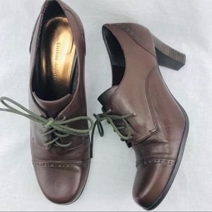 Etienne Aigner brown leather lace up heels 9.5 M